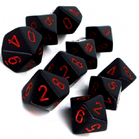 Black & Red Opaque D10 Ten Sided Dice Set
